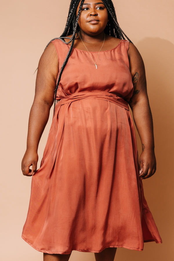Terra Cotta Cupro Tie-Waist Dress +