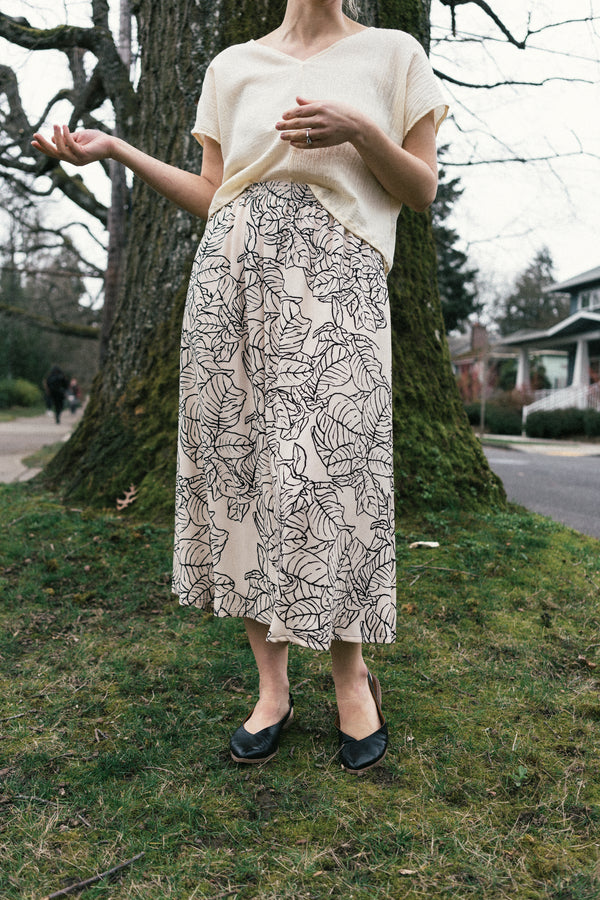Eva Midi Skirt in Leaf