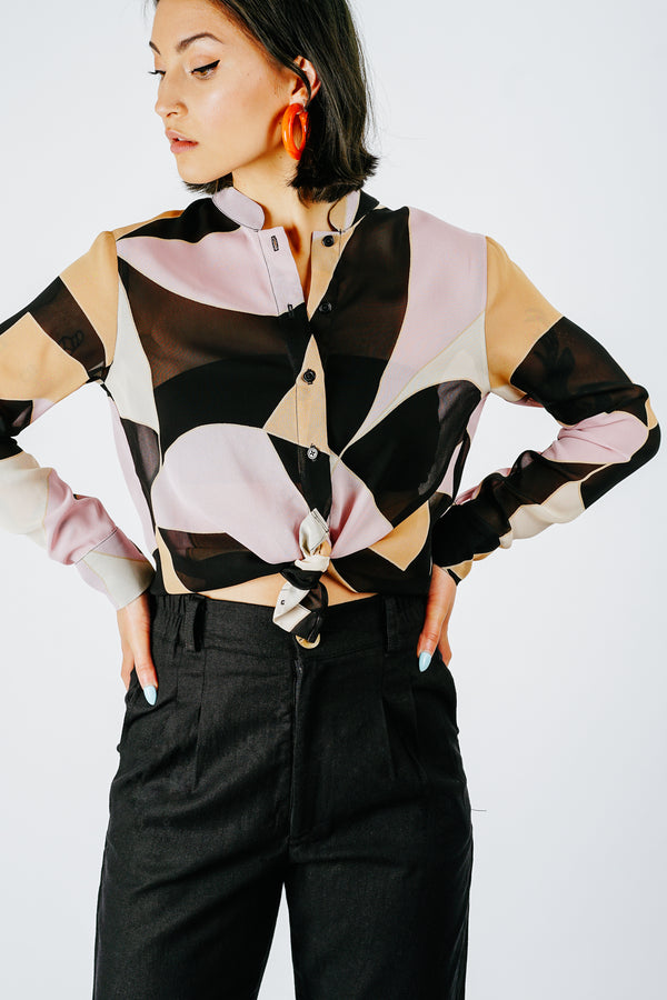 Abstract Print Sheer Button Down Blouse