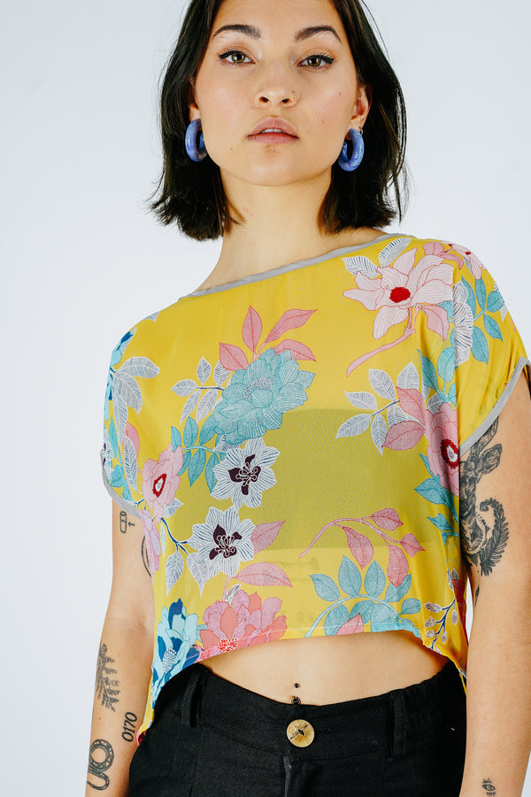 Yellow Floral Fox Top
