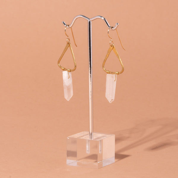 Unicorn Gold and Triangles and Quartz Earrings