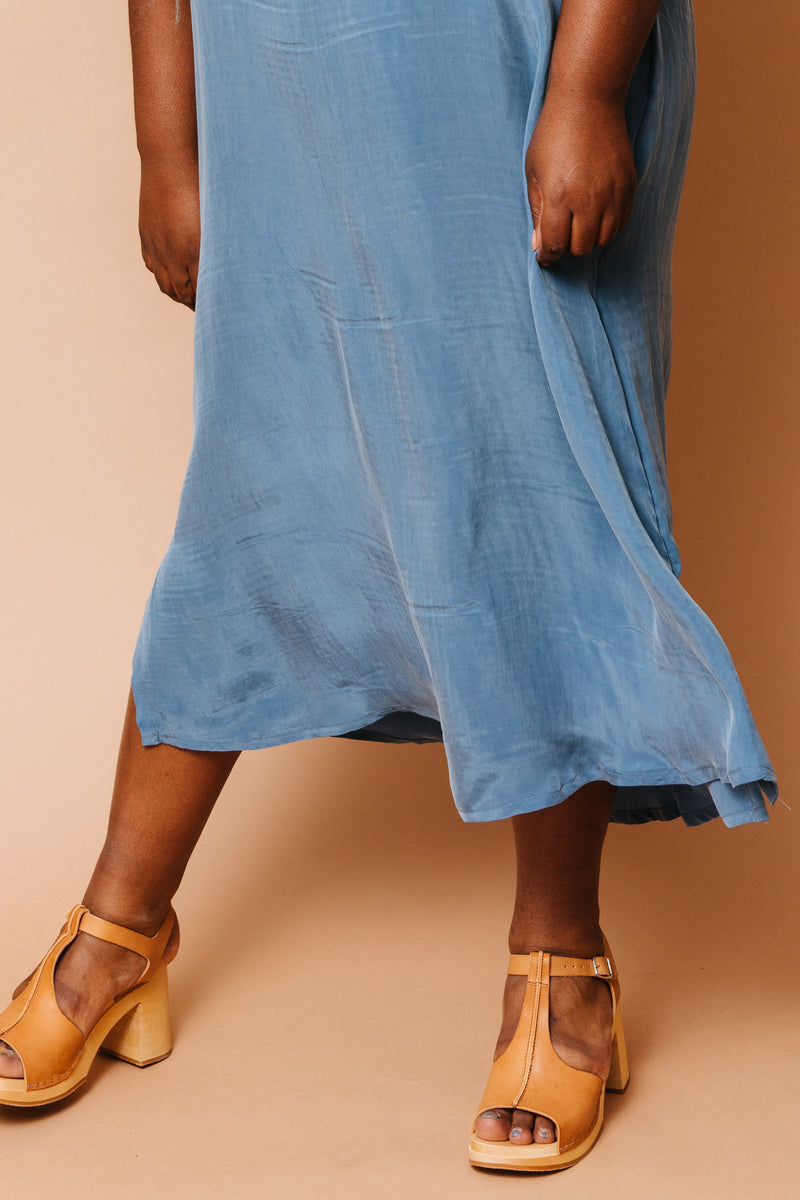Ultra Blue Cupro Shift Dress +