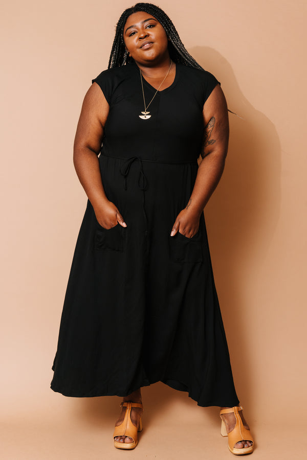 Black Belted Bias Dress +