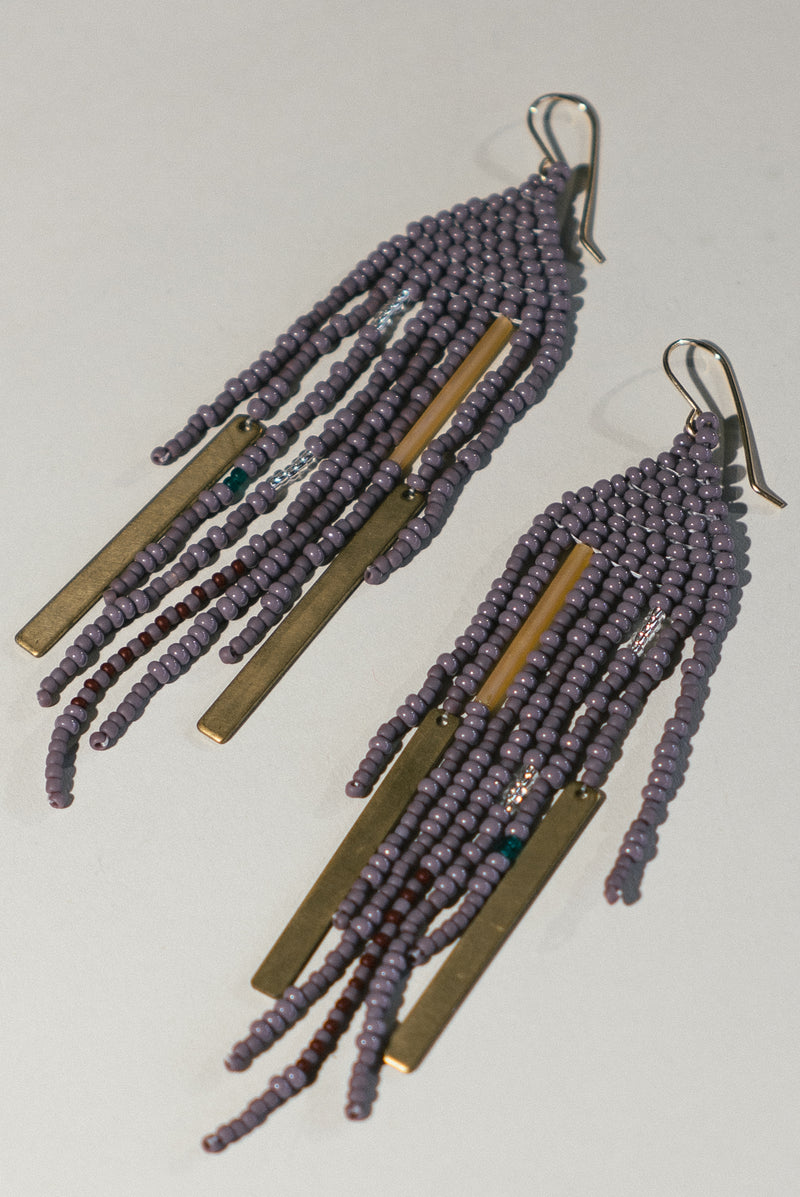 Large Beaded Fringe Earrings with Brass Accents