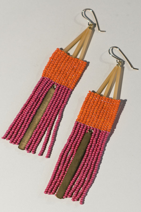 Orange and Pink Fringe Earrings with Brass