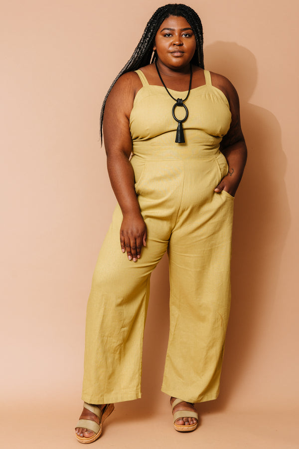 Yolked Juniper Jumpsuit in Mustard +