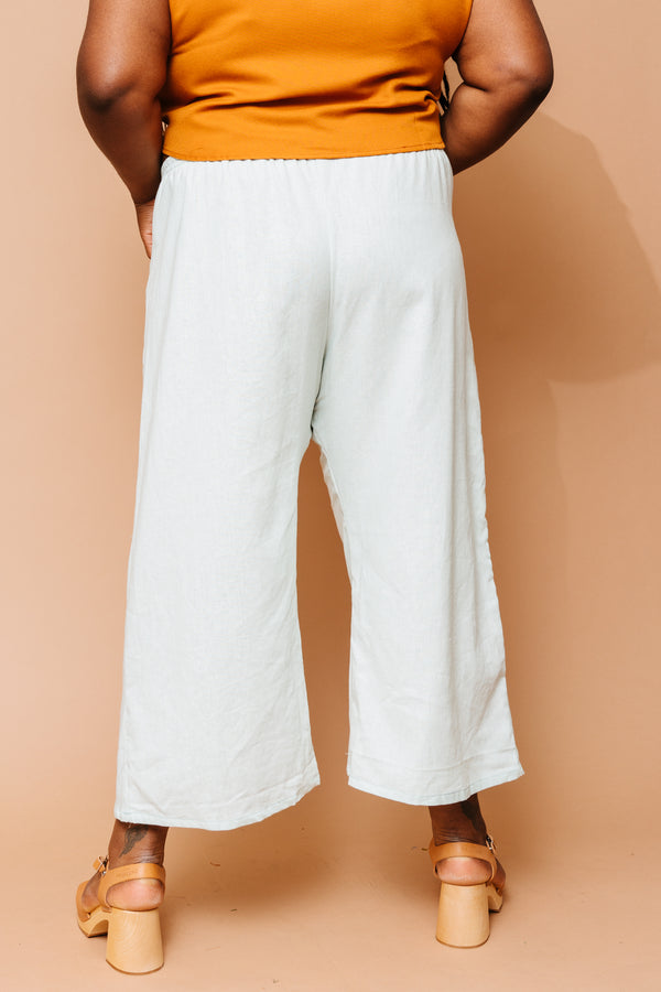 Sea Foam Linen Trouser +