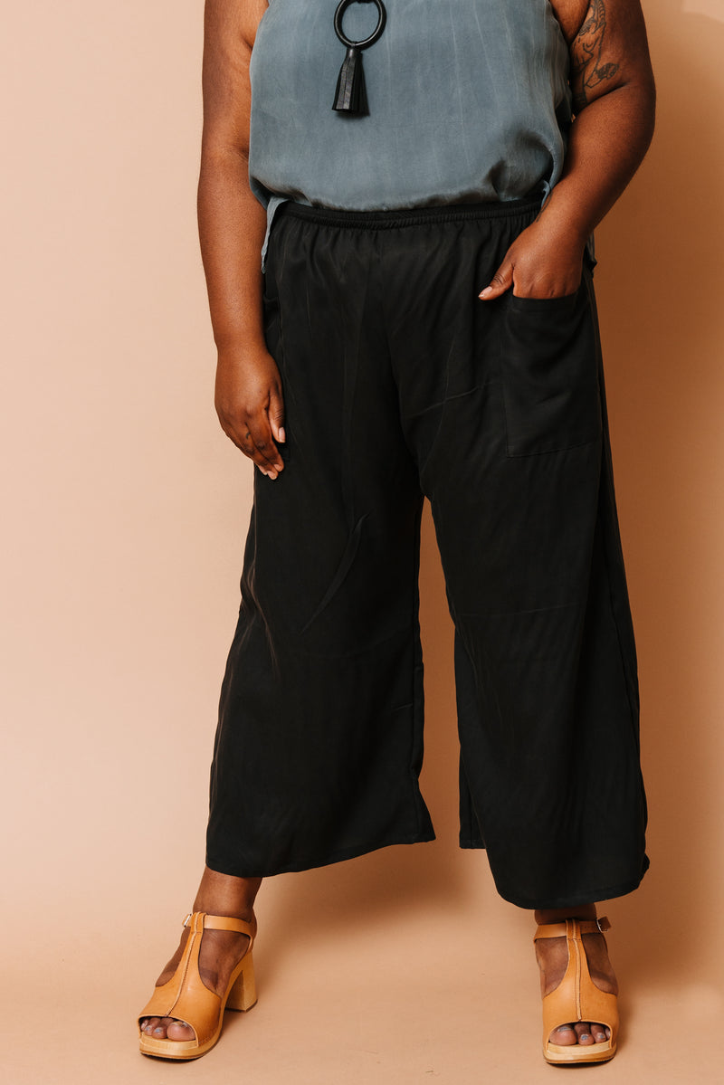 Black Culotte Pocket Trouser +