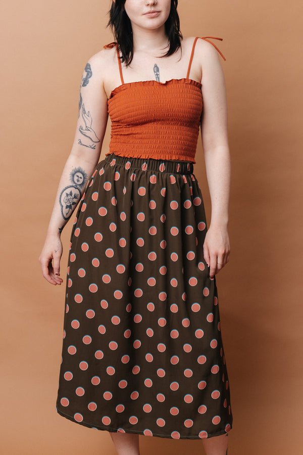 Eva Midi Skirt in Watermelon Dot