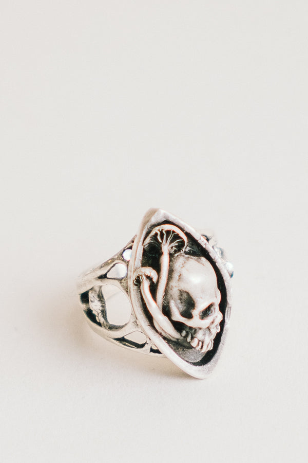 Skull and Mushroom Navette Ring