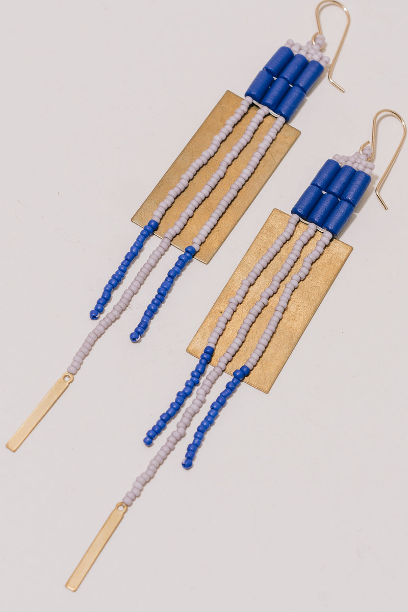 Cobalt and Lavender Rectangle Earrings with Brass Accents