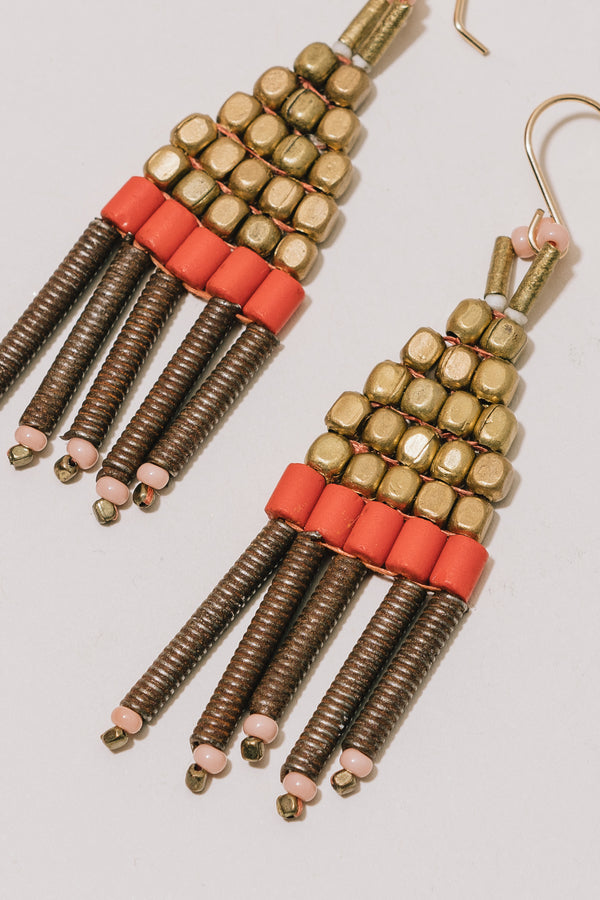 Gold, Rust, and Orange Beaded Earrings