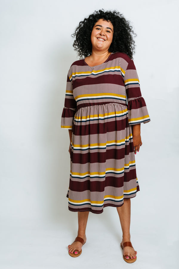 Aurelia Dress in Saffron Stripe