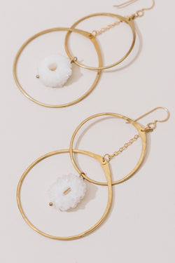 Brass Double Hoops with Druzy Earrings