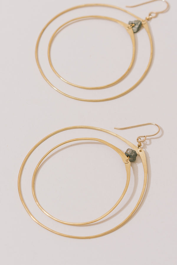 Brass Layered Hoops with Pyrite