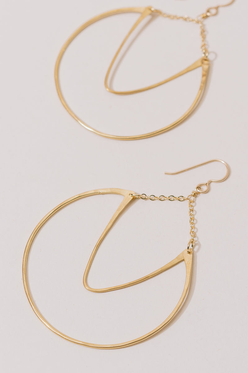 Brass Swoop Hoop Earrings