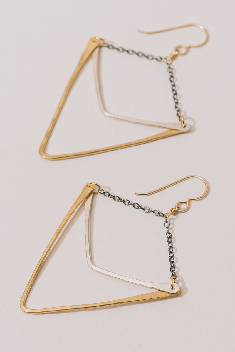 Geo Earrings with Oxidized Chain