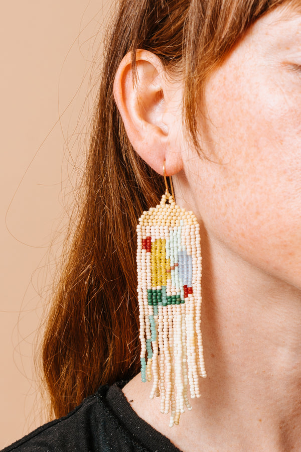 Beaded Abstract Painting Earrings