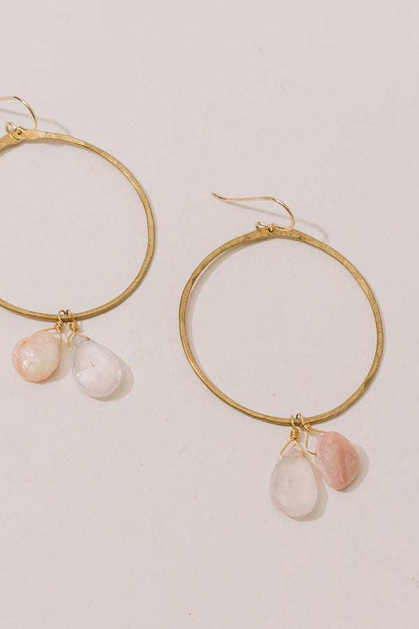 Mini Brass Hoops with Sunstone and Moonstone Charms
