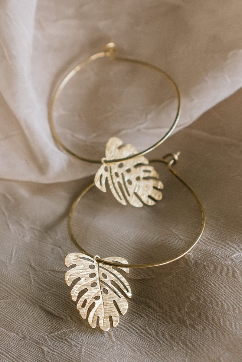 Monstera Mini Hoop Earrings