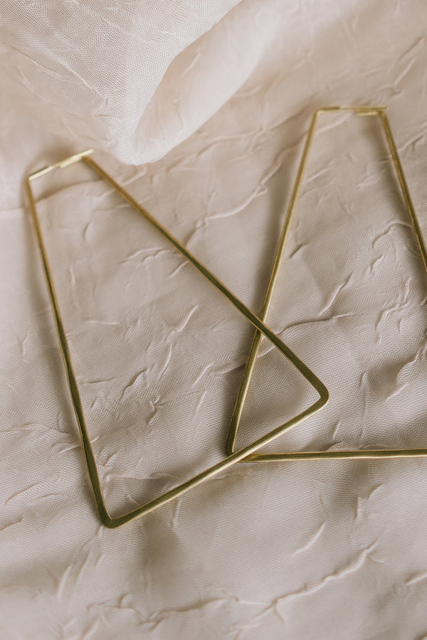 Essie Day Hammered Brass Geo Earrings/ Hut Hoops