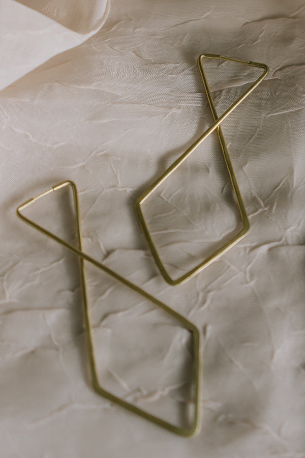 Essie Day Hammered Brass Geo Earrings/ Cross Hoops