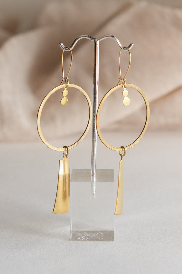 Brass Hoop and Tassel Earrings
