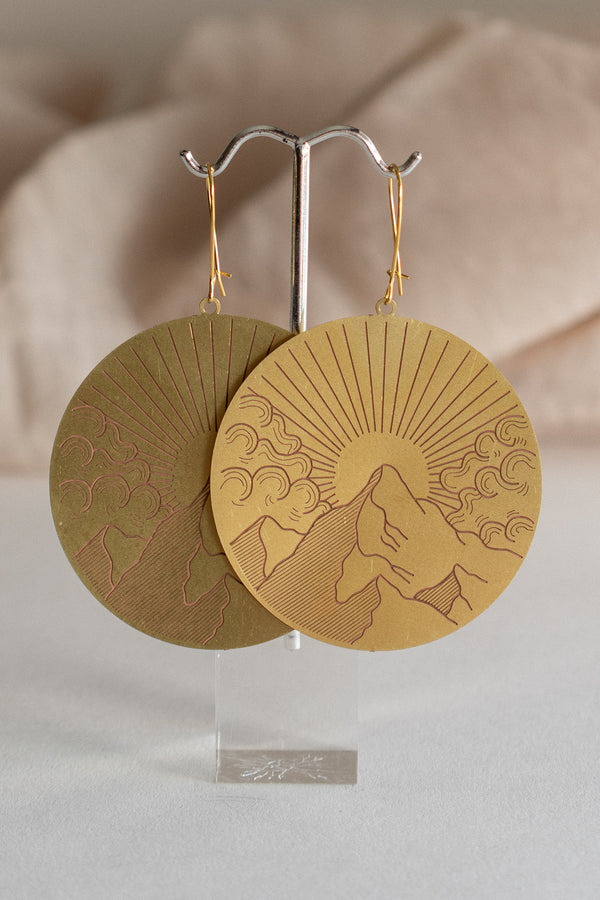 Brass Mountain View Earrings