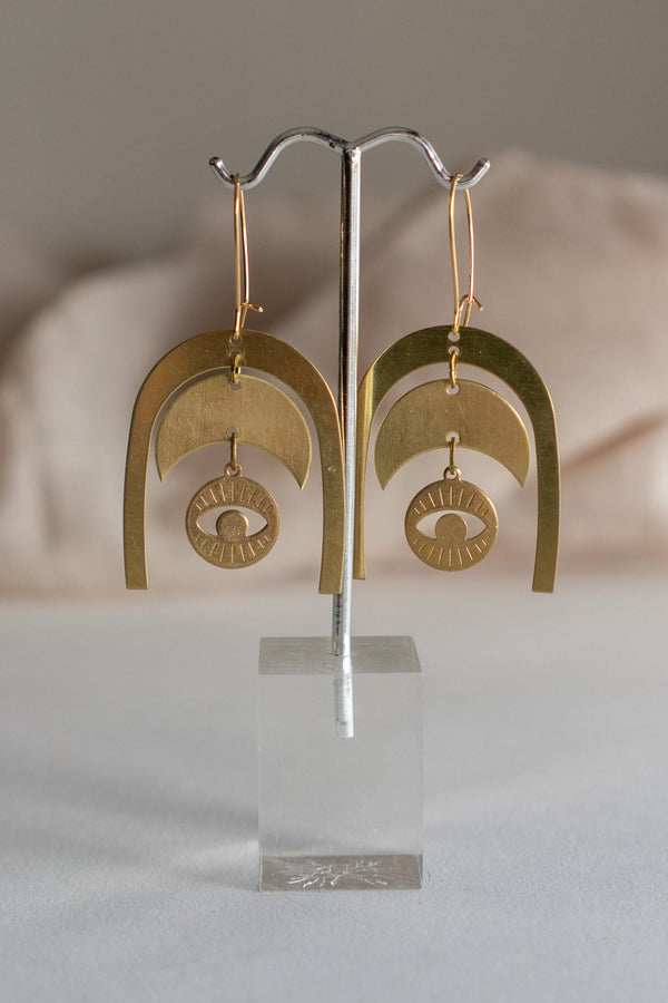 Brass Arch and Moon Earrings