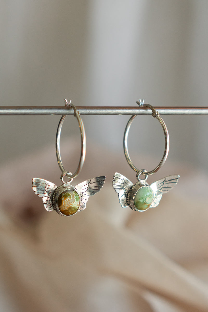 Harpy Hoop Earrings with Stone