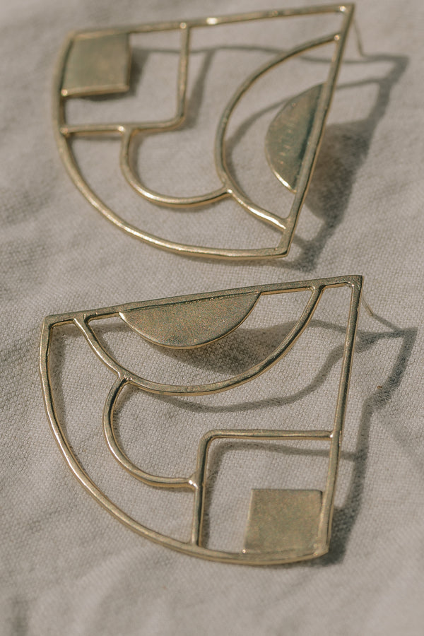 Brass Pop Fan Earrings