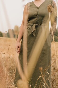 Ever Dress in Olive Linen