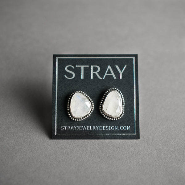 Moonstone and Silver Stud Earrings