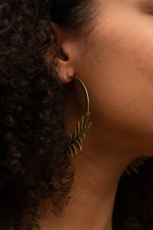 Olive Branch Hoop Earrings