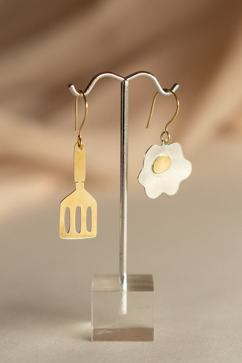 Fried Egg and Spatula Earrings