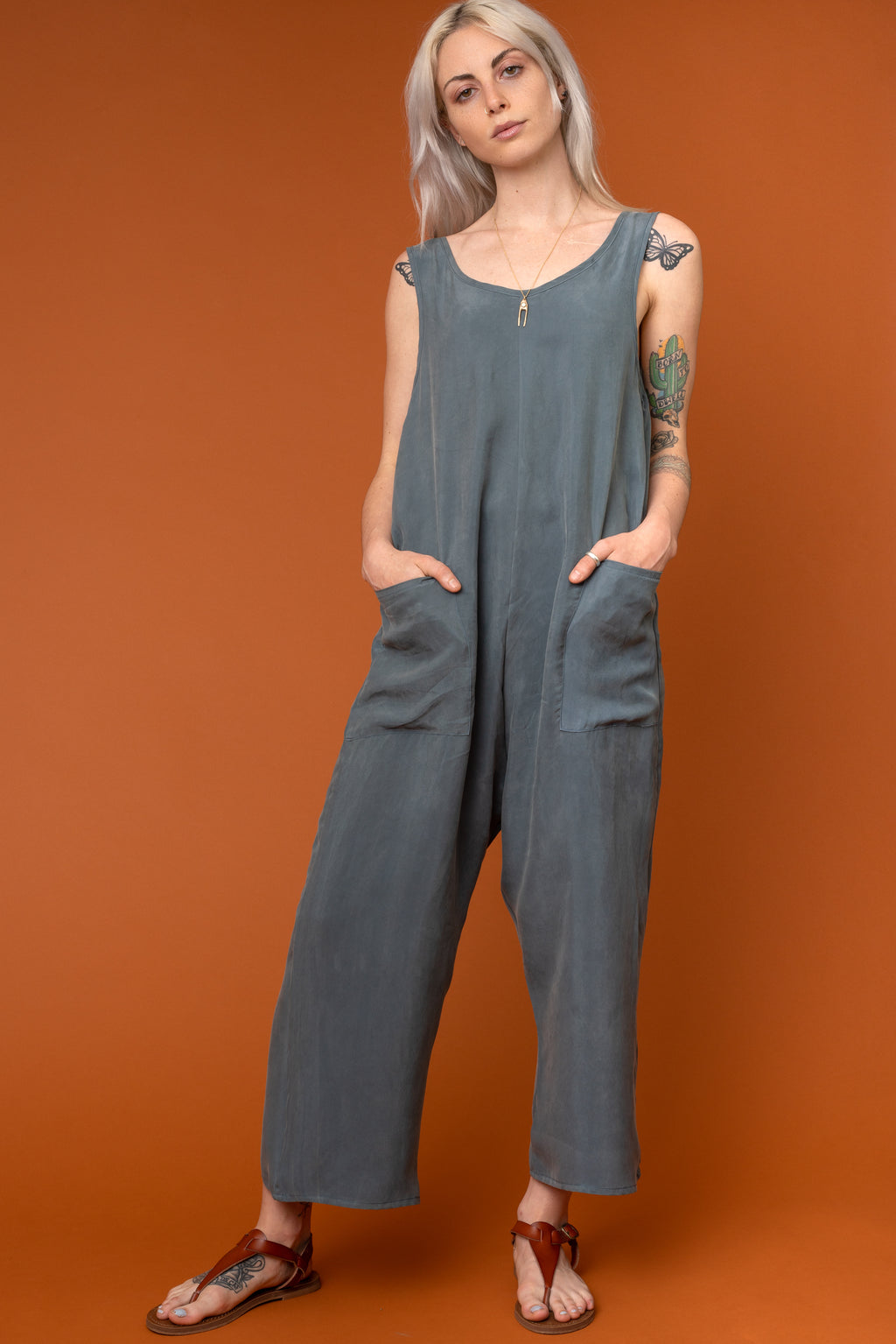Aegean Sea Cupro Pocket Jumpsuit