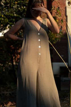 Reeve Jumpsuit in Woven Taupe