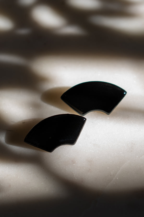 Black Ceramic Arc Stud Earrings
