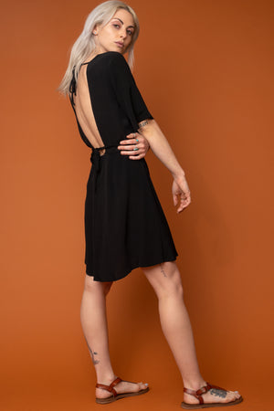 Black Marianne Wrap Dress