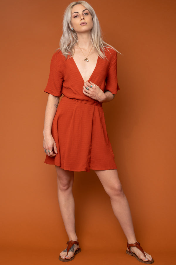 Rust Marianne Wrap Dress