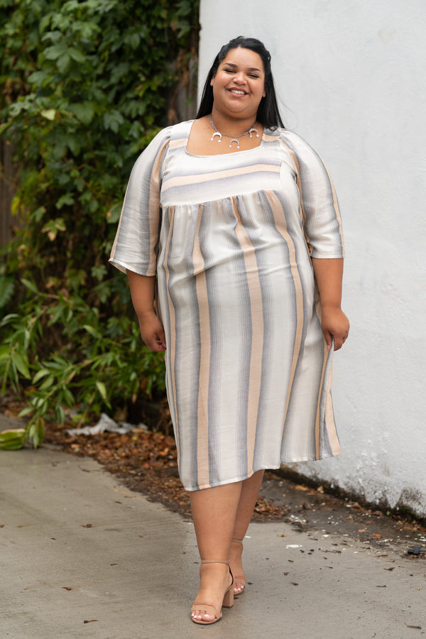 Ulla Dress in Peach Stripe +