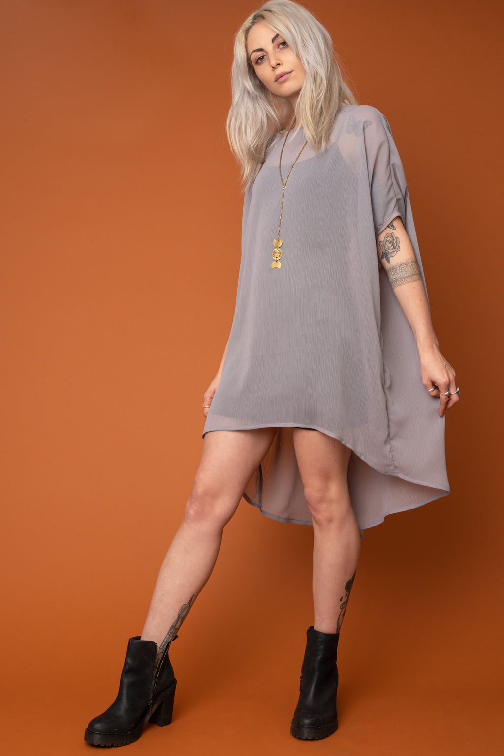 Sheer Grey Fox Dress