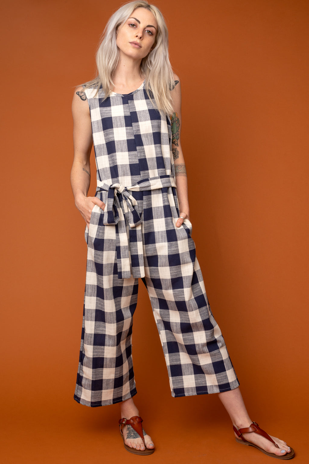 Midnight Gingham Tie-Waist Jumpsuit