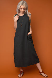 Deep Moss Pocket Shift Dress