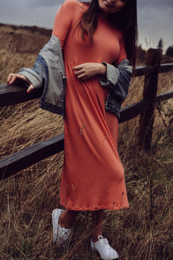 Megumi Dress in Vibrant Coral