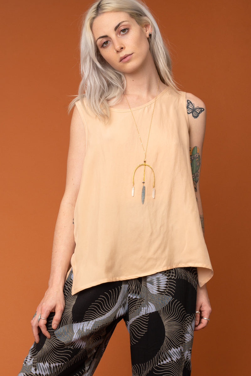 Peach Cupro Basic Tank Top