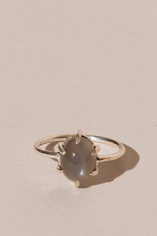 Grey Moonstone Cabochon Ring