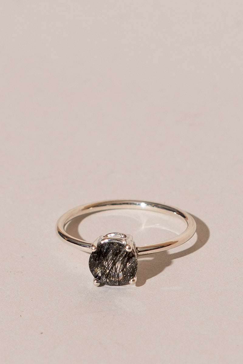 7MM Round Tourmalinated Quartz Ring