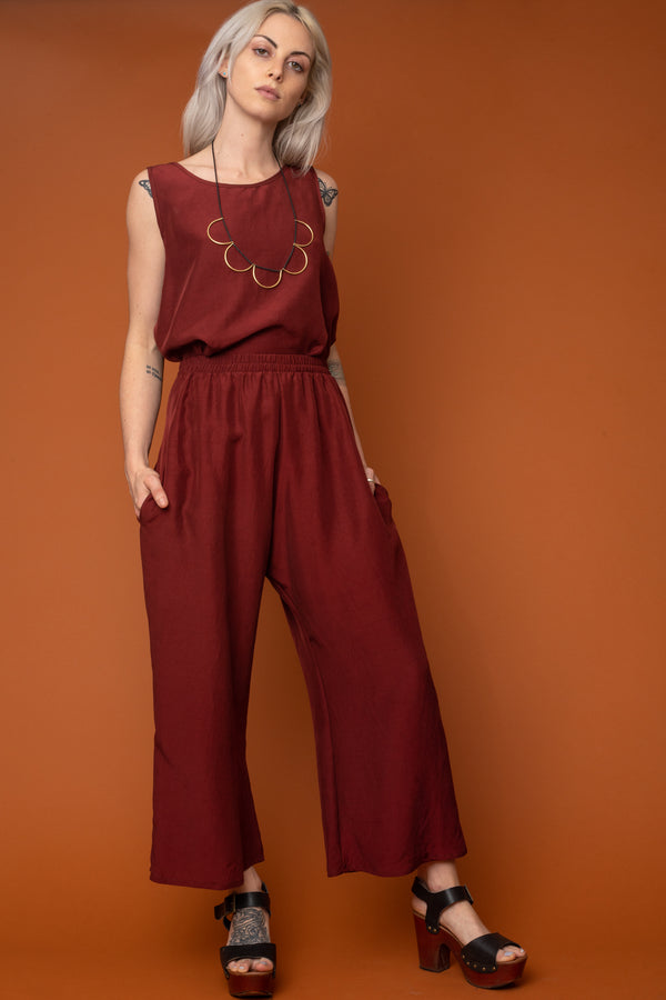Tempernillo Wide-Leg Cropped Trouser