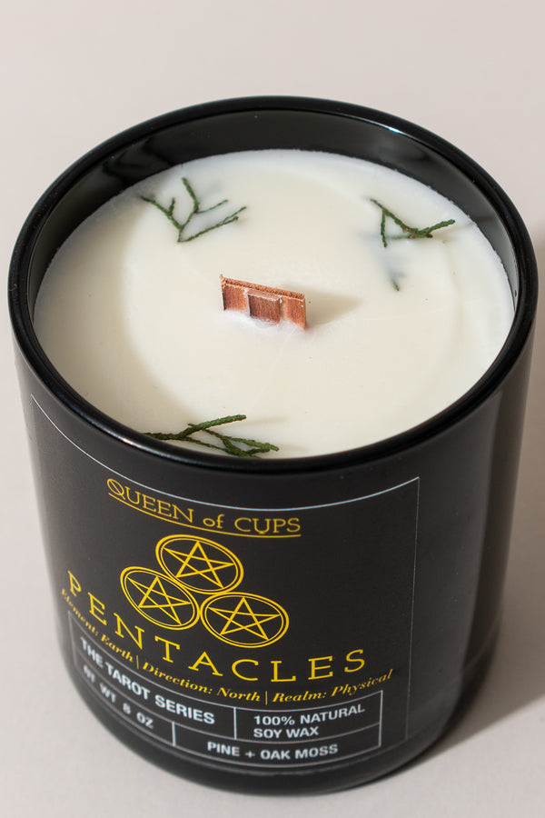 Pentacles Candle - Pine + Oak Moss